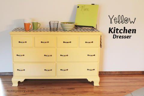DIY Yellow Kitchen Dresser Tutorial