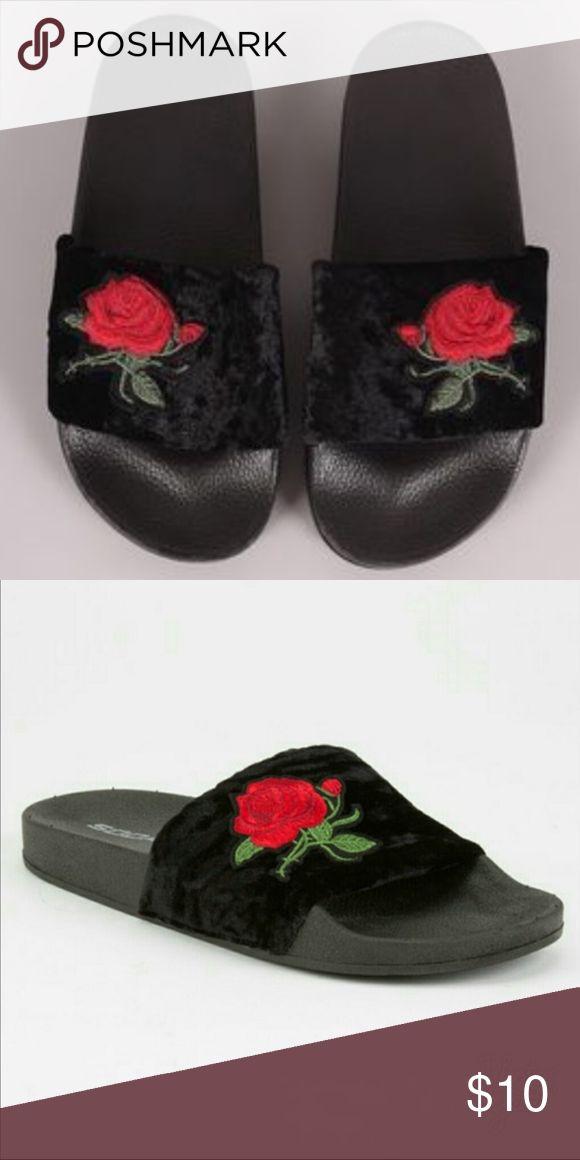 Black velvet slides black velvet slides with adorable rose embroidery Tilly's Shoes
