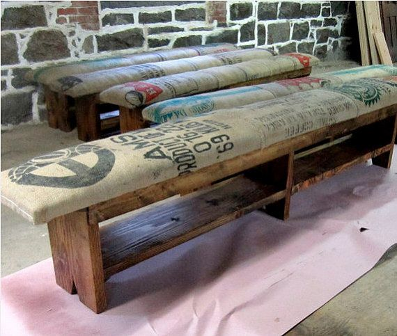 Coffee Sack Bench with wood legs - Hold for Guido