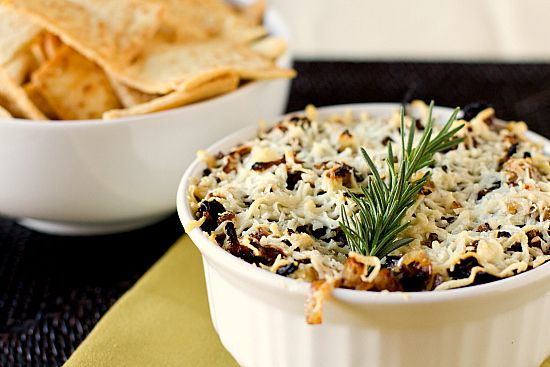 baked asiago and caramalized onion hummus dip
