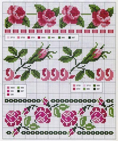 Bonitos bordados en punto de cruz de flores