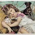 victorian trading card, the little pets, vintage advertising card, girl kittens dog, scott's emulsion, old fashioned medicine ad