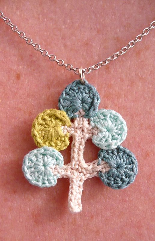 Crocheted Necklace - Mod Tree design - blues and green