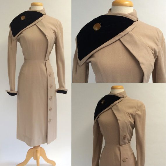 1940s Camel Colored Dress, Tan and Black Winter Dress, 40s Day to Evening Dress
