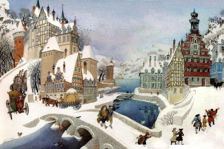 Gennady Spirin - Winter scene 2004 | Gennady Spirin [Russian painter and children's book illustrator,born 1948]