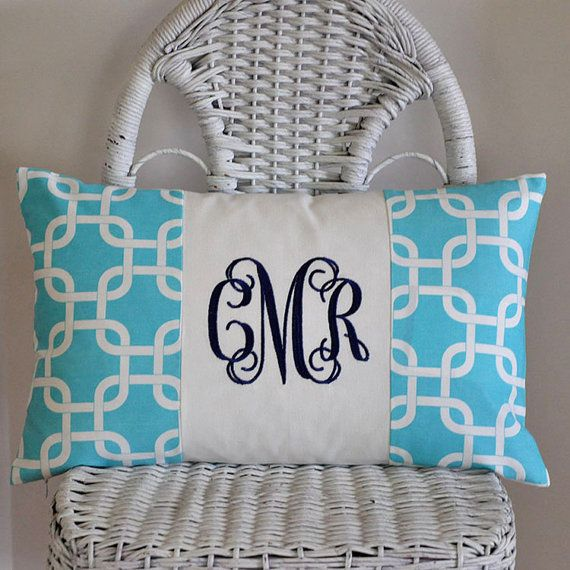 Personalized Lumbar Pillow Cover Monogrammed Dorm Bedding Teen Bedding 12x20 inches on Etsy, $30.00