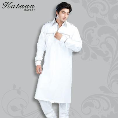 Plain White Cotton Khadi Kurta with Chudidar