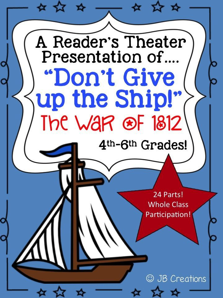 Bring the War of 1812 and the Battle of Lake Erie to life in this whole class script of Don't Give up the Ship!  This fast moving script explores the causes/events leading to this important war in our country's history! This original play contains 24 parts featuring various reading levels to ensure whole class participation, differentiation, and engagement.  https://www.teacherspayteachers.com/Product/Readers-Theater-The-War-of-1812-intermediate-level-with-24-parts-1852925