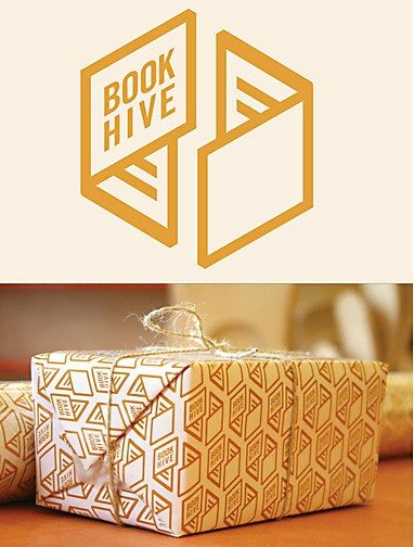 Book Hive logo and packaging by Rich Greco