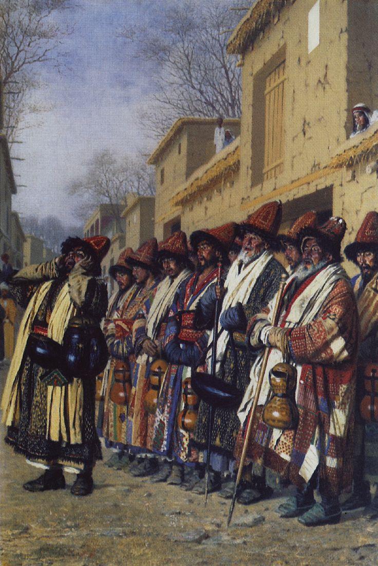 Верещагин В.В.. Хор дервишей, просящих милостыню. Ташкент. 1870