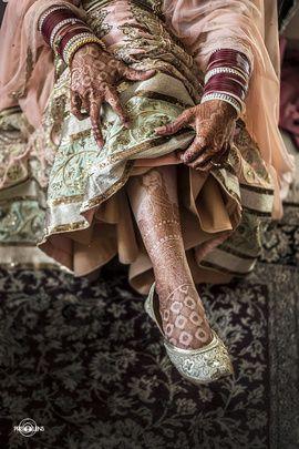 Wedding Shoes - Mint Green and Golden Juttis | WedMeGood | Pastel Pink and Mint Green Lehenga with Golden Jutti and an Intricate Mehendi Design Photo Courtesy: @bhaktikanjolia #wedmegood #jutti #mehendi #pastel #bridal #footwear