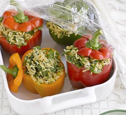 This colourful vegetarian supper is superhealthy and freezable in individual portions, so you can defrost as many as you need