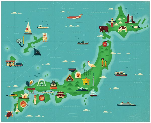 Delightfully Illustrated Map of Japan by MUTI http://waveavenue.com/profiles/blogs/delightfully-illustrated-map-of-japan-by-muti