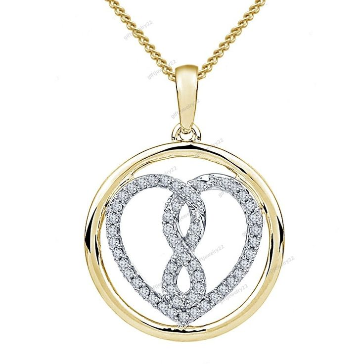 "Two-Tone Plated925 Silver Circle Infinity Love Heart Pendant For Women 18"" Chain #giftjewelry22 #InfinityHeartShapePendant"