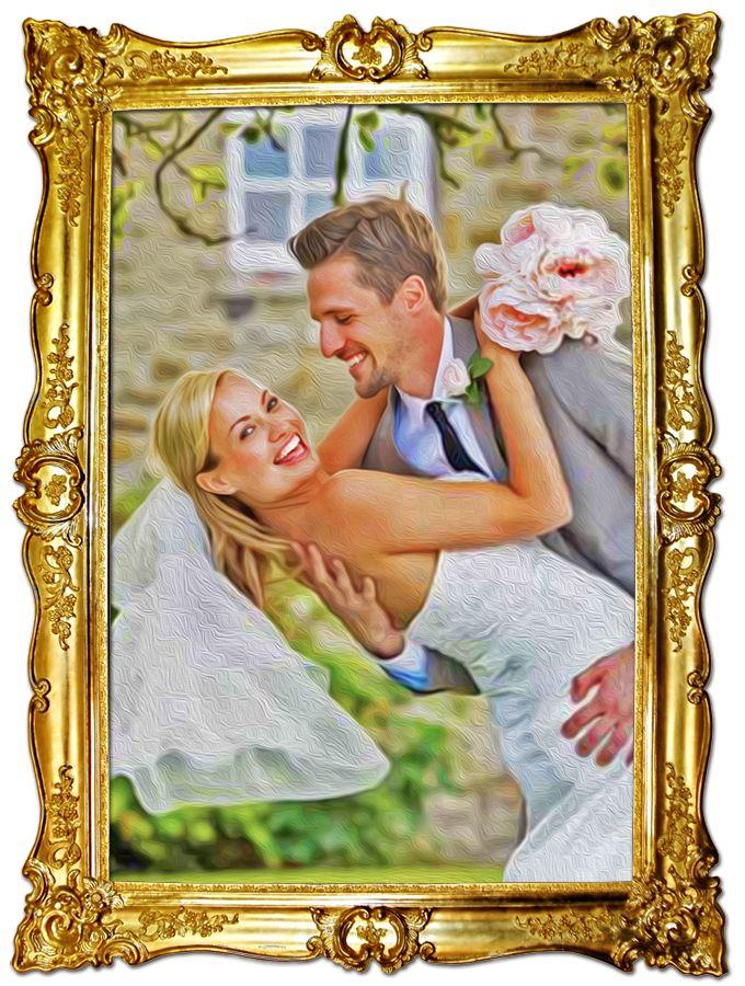 Hochzeitsfoto malen lassen - das originelle Hochzeitsgeschenk! lassen Sie aus dem Hochzeitsfoto ein Gemälde oder Braut-Portrait malen, günstig, weil mit digitaler Software erstellt und auf hochwertige Leinwand gedruckt. Erfahren Sie mehr auf http://adMeyer.de