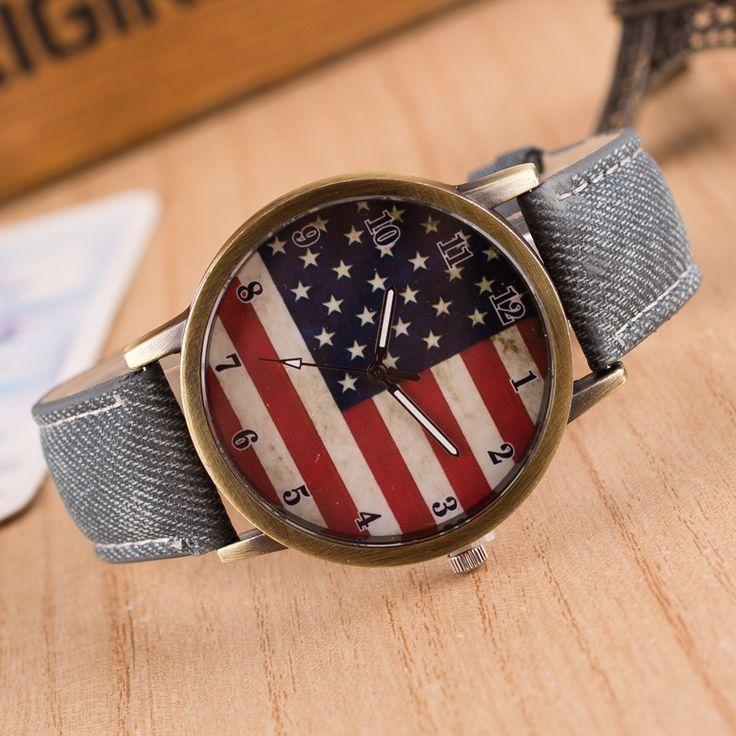 Мода Наручные Часы 2016 Новая Мода Америка Флаг Шаблон Ткань Группа Повседневная Часы Мужчины Женщины Кварцевые Часы Мультфильм Смотреть LZ224