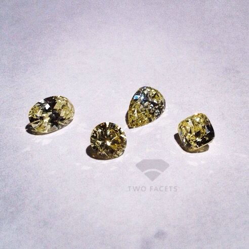 A selection of Fancy Light Yellow diamonds between 0.60ct and 0.90ct. Oval, round, pear shape and cushion. All between $1,600 & $2,000 per carat.