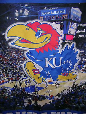 Rare Large  Kansas Jayhawks Basketball KU Allen Fieldhouse Banner 100% Poly