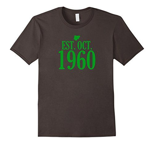 Do you love Nigeria? Celebrate its 57 years established since October 1960 by wearing this shirt! It has the Nigerian map in green. This is the perfect gift for any Nigerian man, woman, kid or person that loves Naija or 9ja culture and history! Show your pride at African festivals, flag day events, for Nigerian Independence Day on October 1, 2017, sport games, or while traveling through the African continent. It is also a good gift for people who are Igbo, Yoruba, Hausa or other Nigerian…