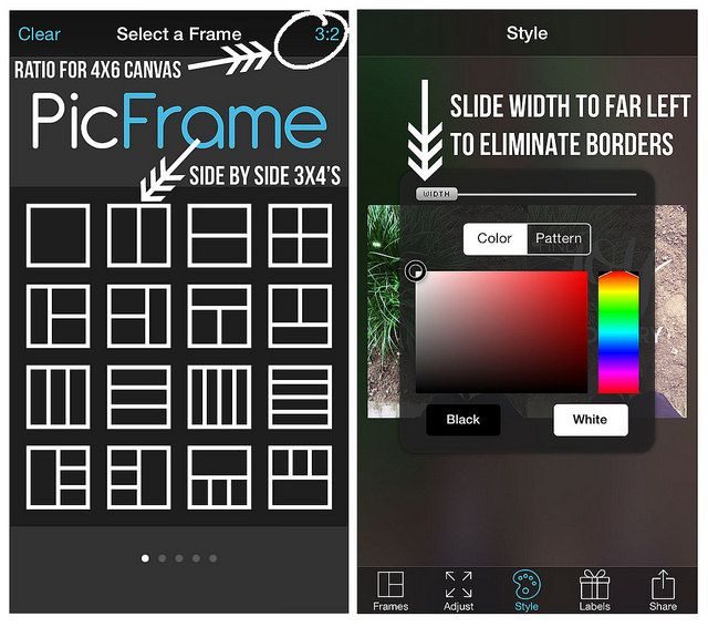 Using the Pic Frame app for your 3x4 project life pics.