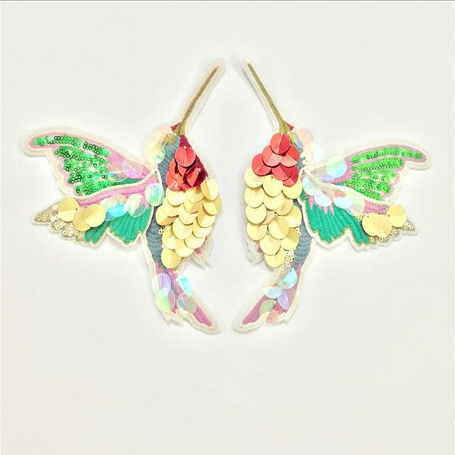 Double Wings Hummingbird sequins iron on patches for clothes Sew-on embroidered patch motif applique deal with it clothing