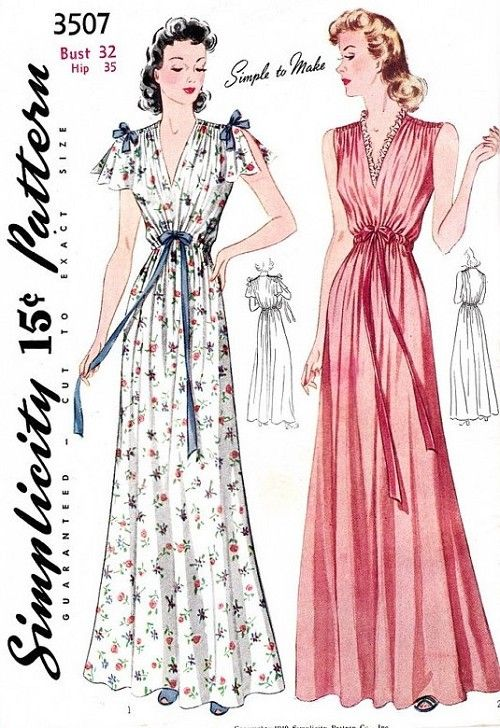 1930s Dreamy Nightgown Lingerie Pattern Simplicity 3507 Two Lovely Styles Cape Sleeves Shirred Shoulders Simple To Make Bust 32 Vintage Sewing Pattern FACTORY FOLDED