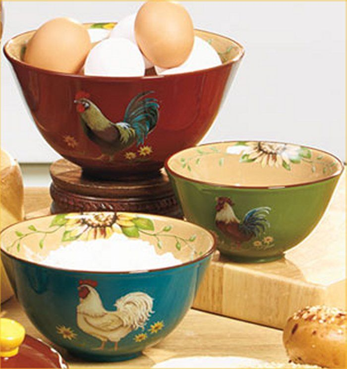 Rooster Mixing Bowls Country Farm Kitchen Serving Bowls
