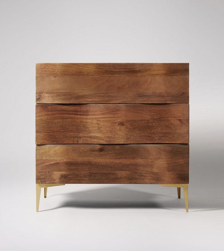 Chest of Drawers, mid-century modern style in Dark Mango Wood & Brass - £499