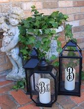 Monogrammed Outdoor Lanterns- this is a great idea to make monogram vinyl letters to put on lanterns inside or outside the house- great gift idea!