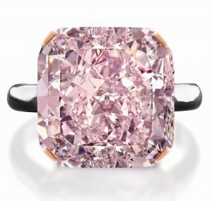 This 10-carat fancy light purplish-pink diamond is radiant cut with SI1 clarity.  The pink diamond originated from a rare rough stone of 21.35 carats found in a South African mine, making it one of the largest pink diamonds ever mined. It was displayed recently by Canadian Jeweler Brinks with a price tag of $2,252,000.