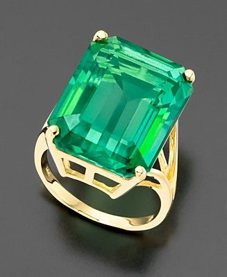 14k Gold Green Topaz Emerald-Cut Ring