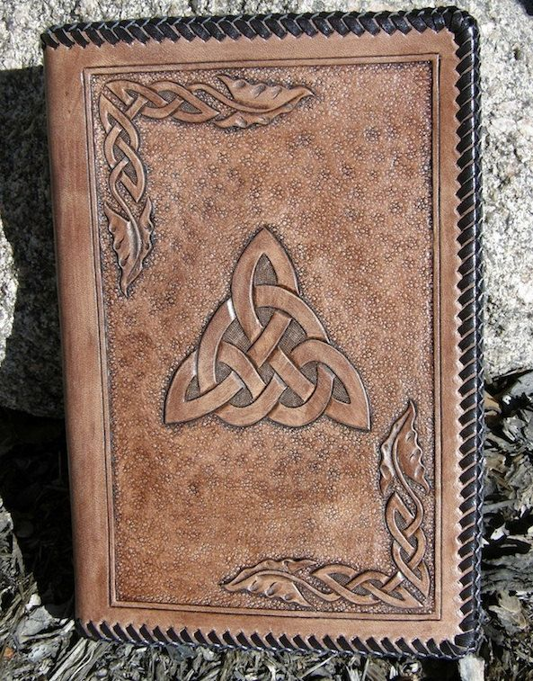 Celtic Trinity Knot Leather Notebook with a by CandBLeather