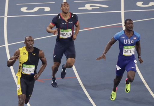 Justin Gatlin loses out on gold, gets booed too:  August 14, 2016  -     Jamaica's Usain Bolt, left, wins the men's 100-meter final ahead of United States' Justin Gatlin, right, and France's Jimmy Vicaut during the athletics competitions of the 2016 Summer Olympics at the Olympic stadium in Rio de Janeiro, Brazil, Sunday, Aug. 14, 2016. (AP Photo/Luca Bruno)