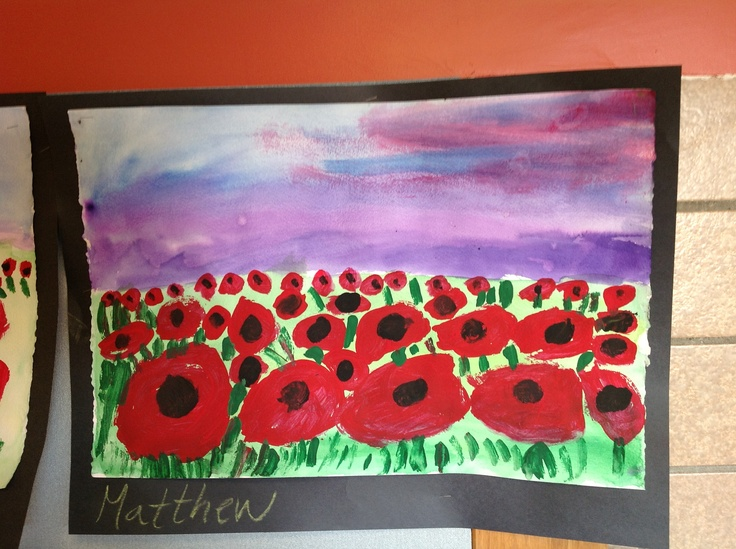 2nd grade Poppy Fields in perspective.  Tempera on watercolor.