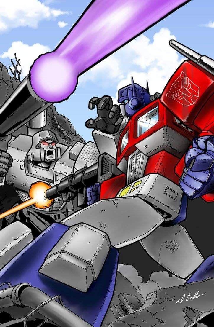 Optimus prime vs megatron transformers - Transformers cartoon optimus prime vs megatron ...