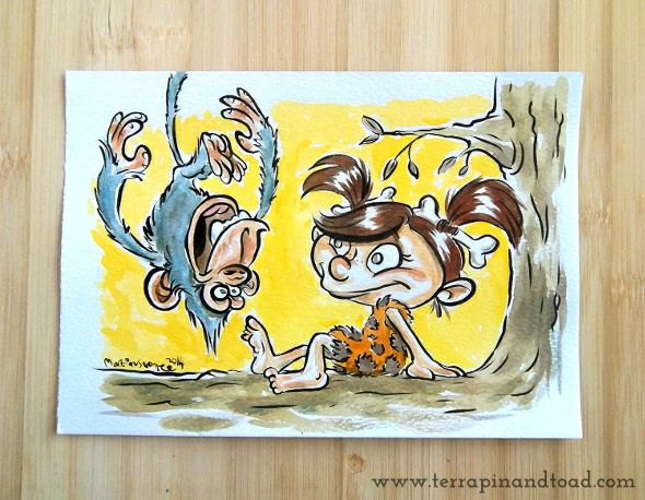 Terrapin and Toad: Sketchbook doodles - Cave Girl With Monkey #terrapinandtoad