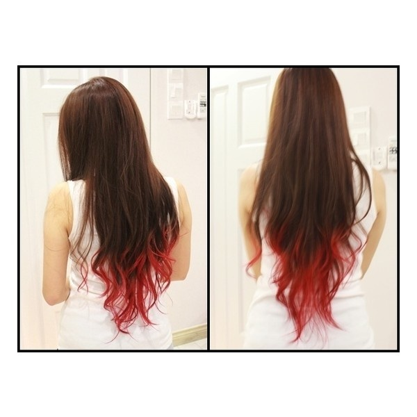 Red Dip Dye Brown Hair Www Imgkid Com The Image Kid
