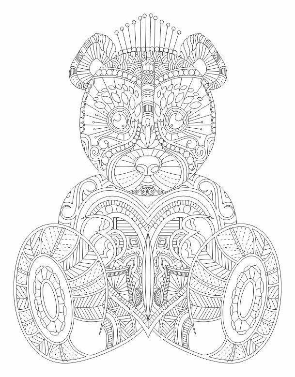 Teddy Bear Abstract Doodle Zentangle Coloring Pages Colouring Adult Detailed Advanced Printable