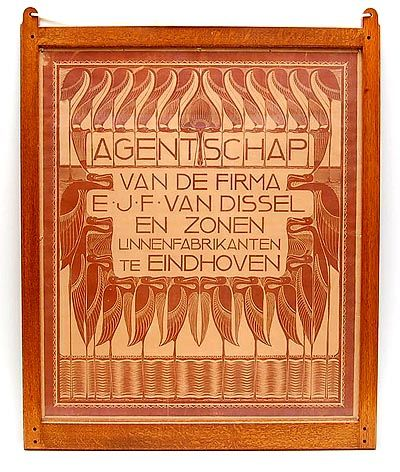 Nieuwe Kunst Poster wood-carving in brown with a decoration of stylized waterbirds design of Chris Lebeau ca.1905 for the agency of the company E.J.F.van Dissel Zn Eindhoven / the Netherlands in oak frame after design of Jacques van den Bosch for t Binnenhuis Amsterdam / the Netherlands