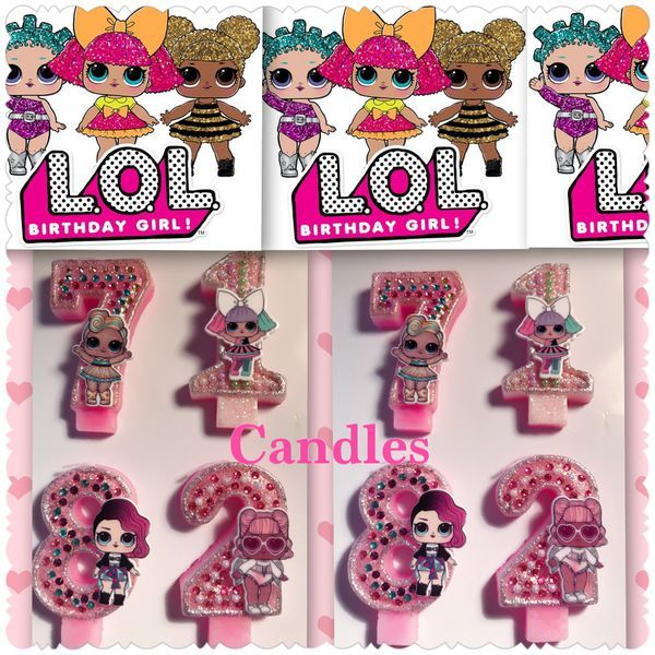 Lol Doll Birthday Candles Any Age 1 2 3 4 5 6 7 8 9 For