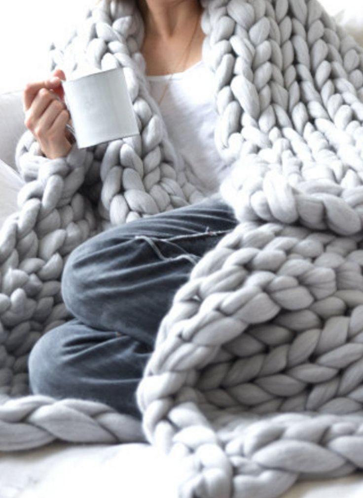 Merino Wool Chunky Knit Blanket | Etsy