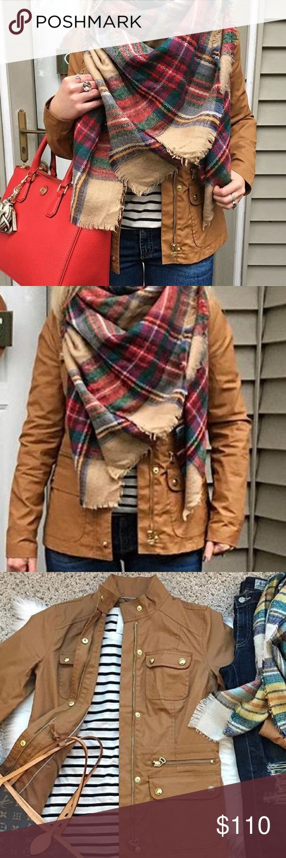 Tommy Hilfiger women's utility jacket NWOT! Tommy Hilfiger Womens Utility Jacket Tommy Hilfiger women's jacket. Equally suited for urban adventures as the great outdoors, our updated field jacket is chicer than ever with gold hardware and a trimly tailored fit. Coated cotton construction keeps you stylishly shielded from the elements.  Body:100% Cotton. Lining: 100% Polyester Zip and snap closure.  Machine washable. Imported Color: Tobacco Brown Size: M Tommy Hilfiger Jackets & Coats Utility…