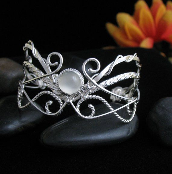 Celtic Renaissance Bracelet Cuff, White Moonstone, in Sterling Silver, Handmade, Size 6