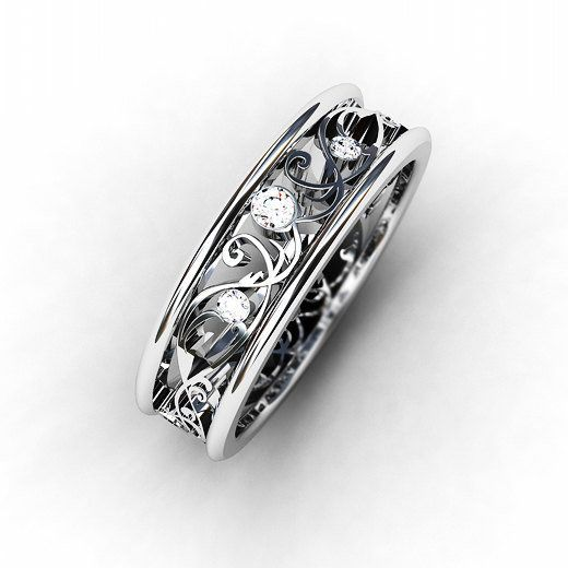 Vintage Filigree Wedding Bands Band Ring Lace Diamond Style Beautiful Things In 2018 Pinterest