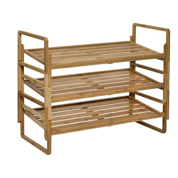Nesting Bamboo 12 Pair Shoe Rack Bamboo Shoe Rack Stackable Shoe Rack Small Shoe Rack