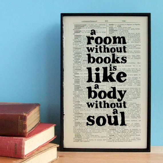 Cicero A Room Without Books art print book lover's quote on vintage dictionary page