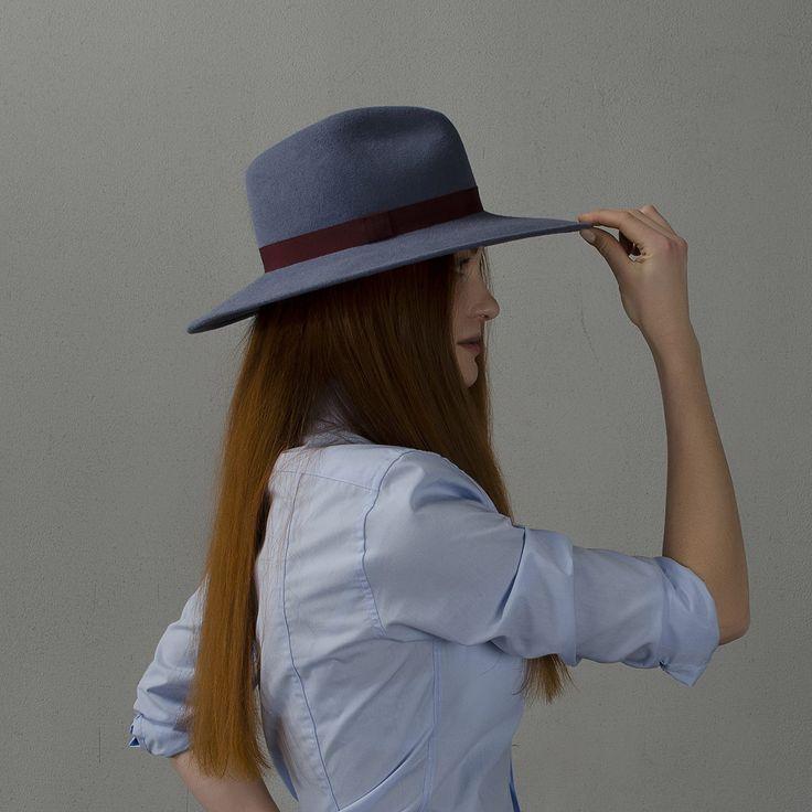 Cadet grey wide-brim fedora hat / Широкополая шляпа федора серо-голубого цвета  fotralehats.com фото photo hats lookbook
