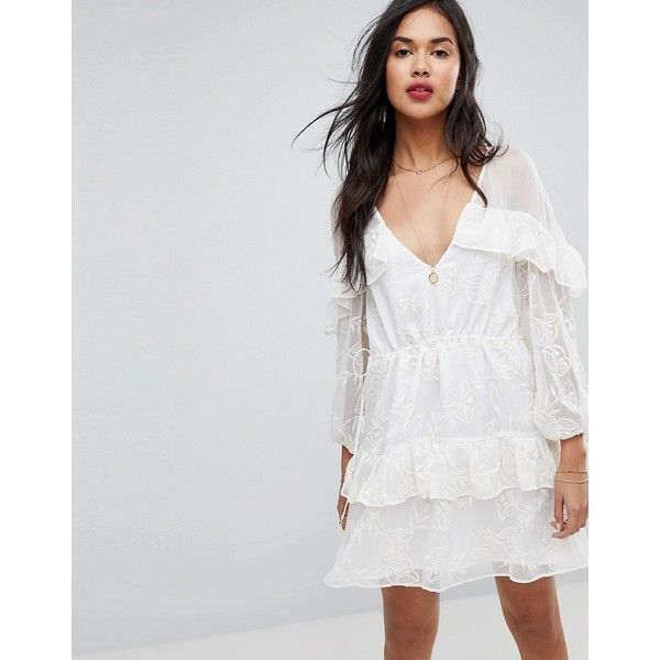 Stevie May Embroidered Mini Dress ($220) ❤ liked on Polyvore featuring dresses, white, bohemian dresses, short dresses, white flare dress, white mini dress and mini dress