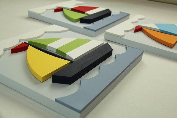 Conjunto de 3 veleros madera 3D, náutica arte cuadros para habitaciones de niños