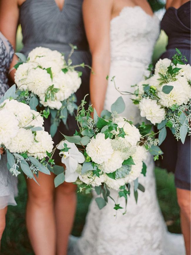 White and Green Bouquets | When He Found Her Photography | Back to Nature - Earthy and Organic Wedding Ideas